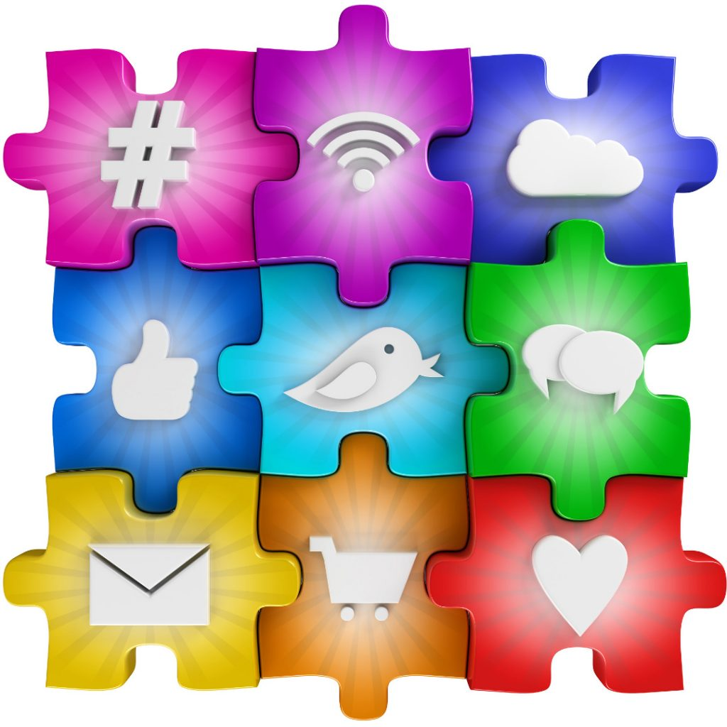 Earned Owned and Social Media puzzle pieces