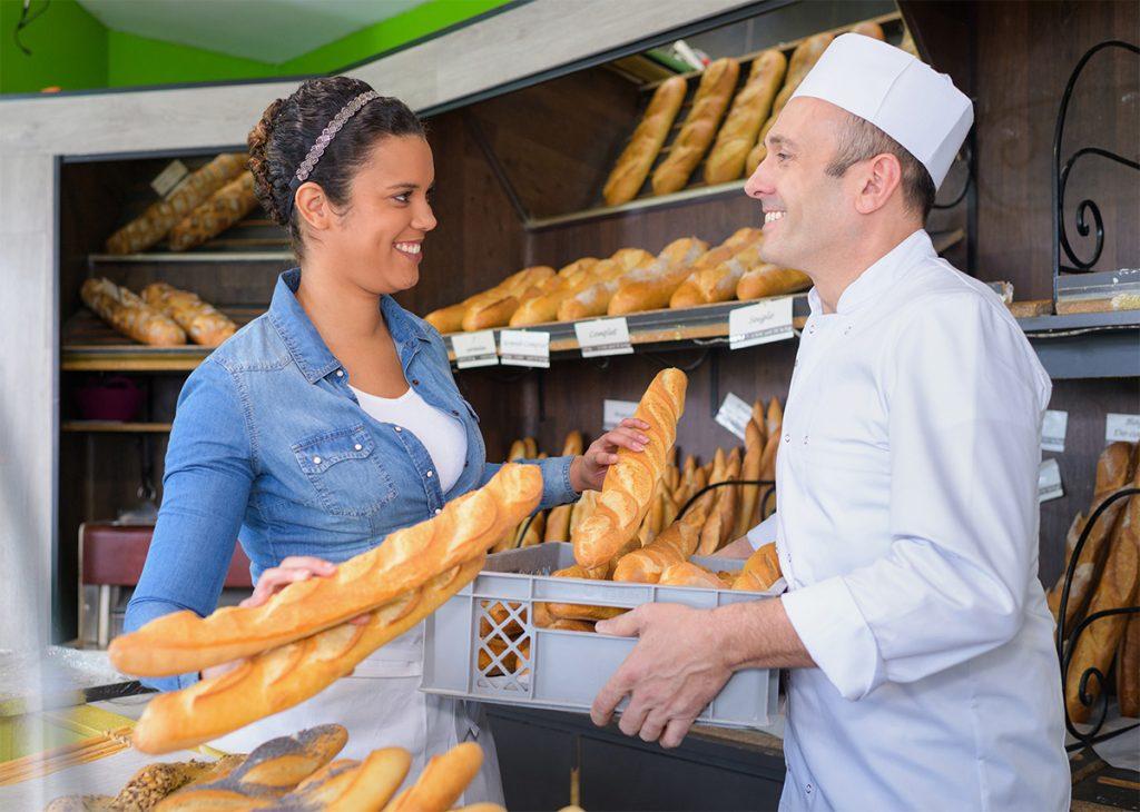 Baker gives customer service