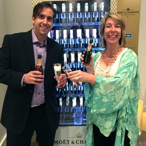Margot Black and Tim Cravens testing out The Piccolo Paso Robles' new Moet machine