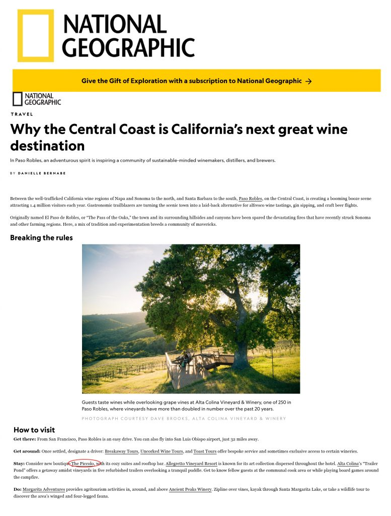 National Geographic featured Paso Robles and the Piccolo