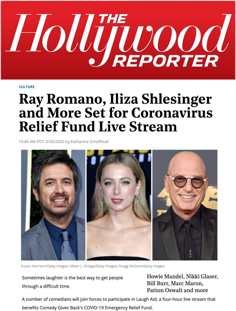 Hollywood Reporter features Comedy Give Back's Laugh Aid