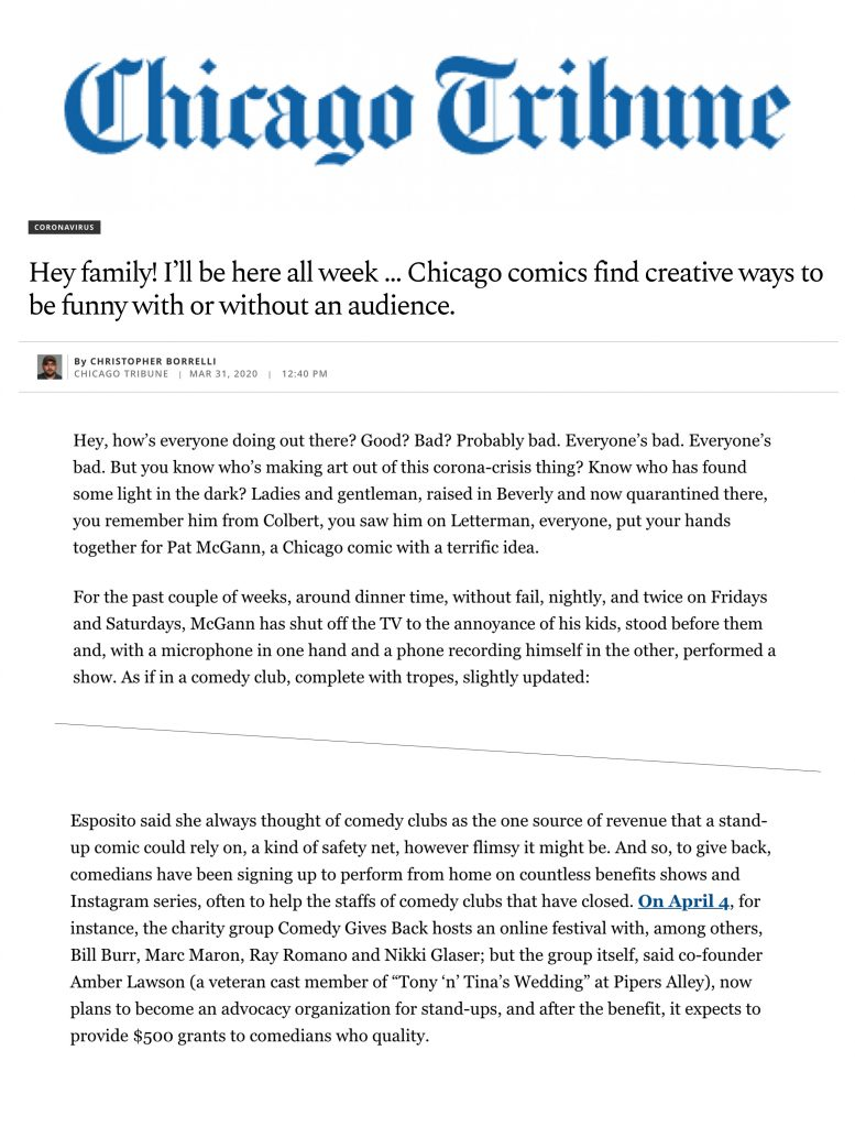 Chicago Tribune features Comedy Gives Back's Laugh Aid