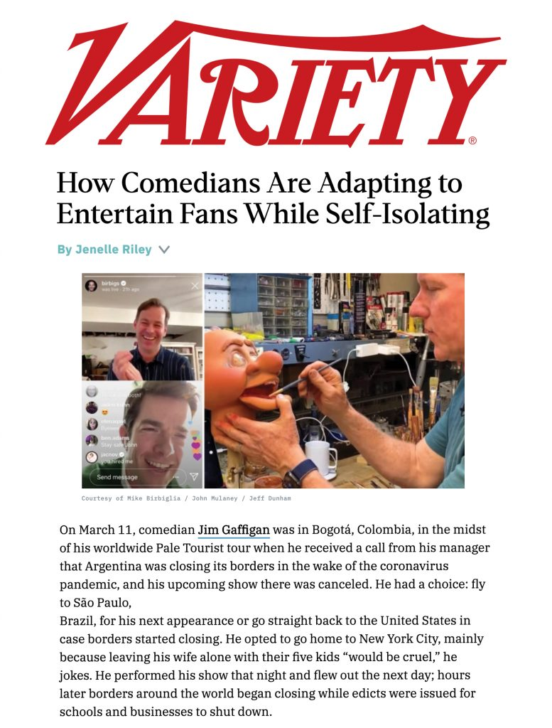 Variety article featuring Comedy Gives Back's Laugh Aid