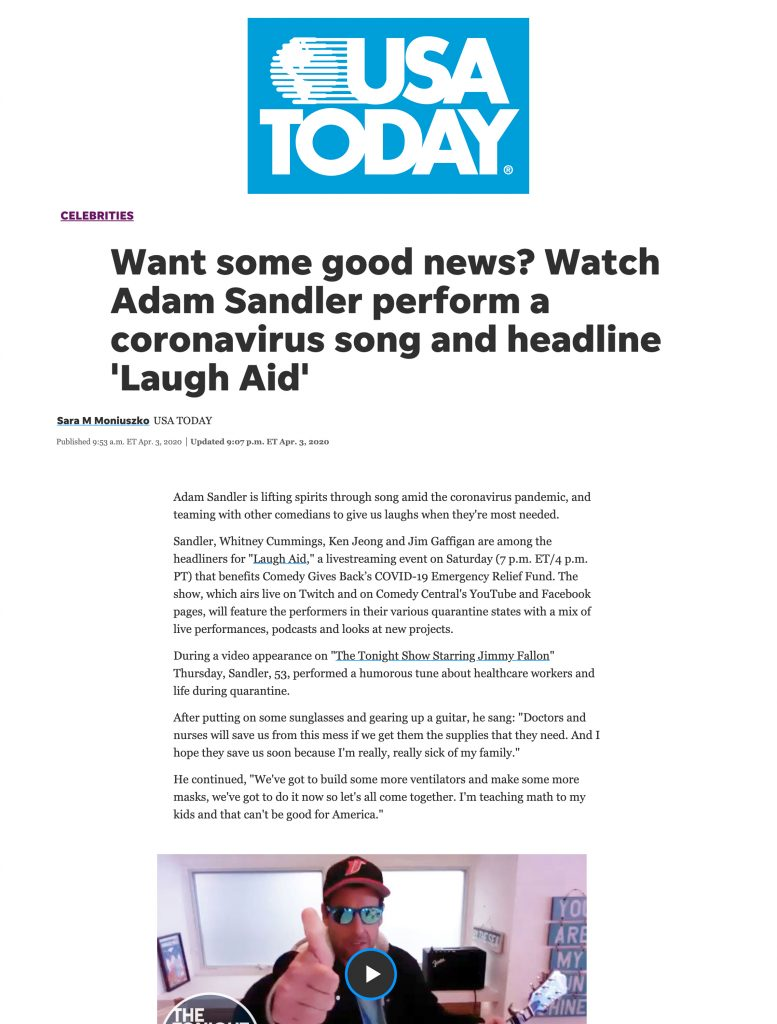 USA Today features Comedy Gives Back's Laugh Aid