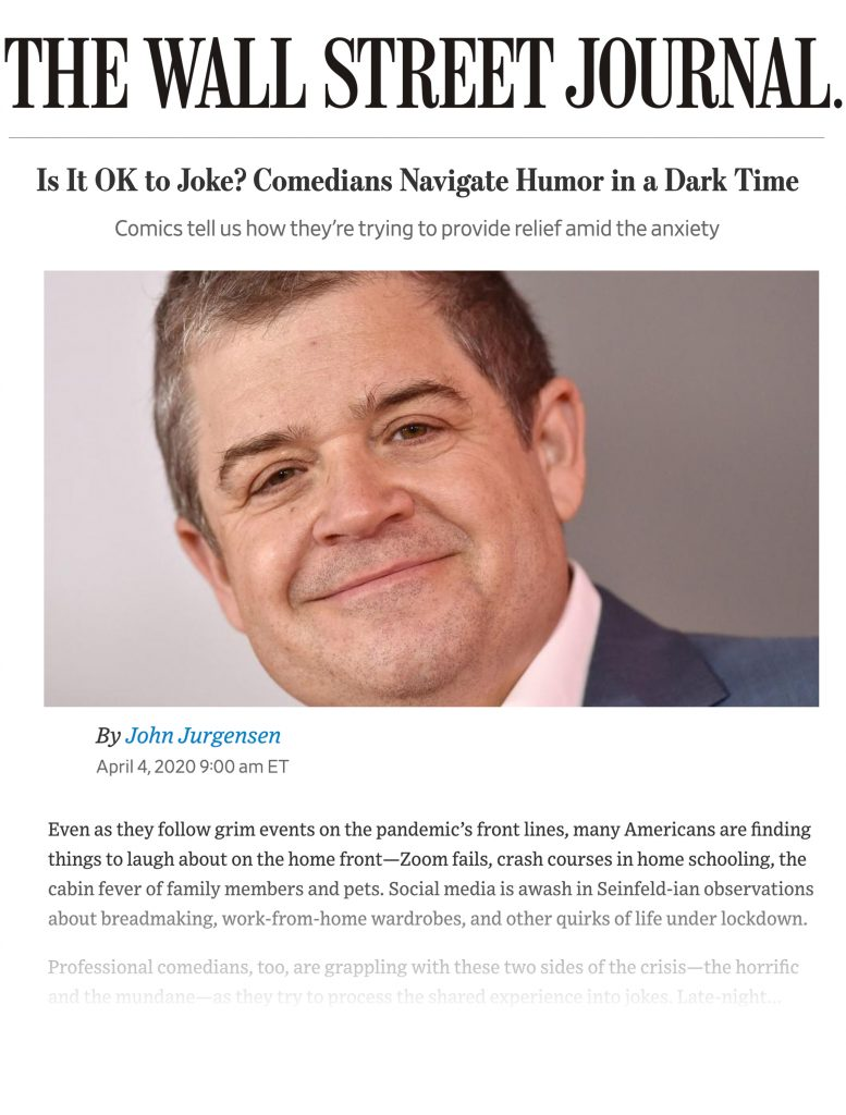 Wall Street Journal on Comedy during the Coronavirus with mention of Comedy Gives Back's Laugh Aid